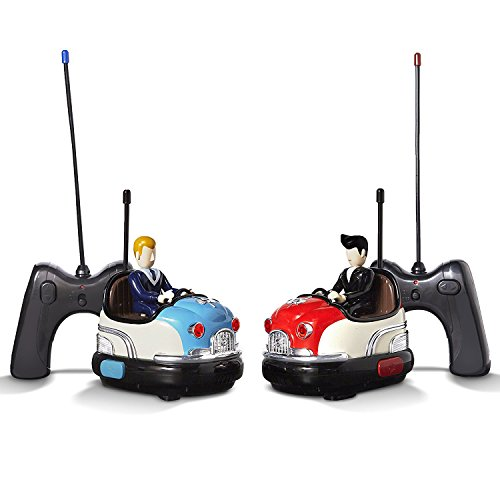 FAO Schwarz RC Toy Bumper Car Set - Remote Controlled Head-to-Head 2-Player Competitive Action - Drivers Eject When Hit, Red/Blue, Medium - Car Games Controlled Radio