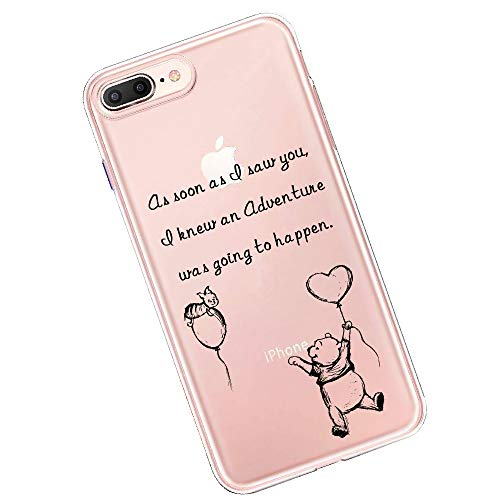 Winnie The Pooh Quotes Crystal Clear Shock Absorption Technology Bumper Soft TPU Cover Case for iPhone 7 Plus iPhone 8 Plus case - Classic Pooh (as Soon as)