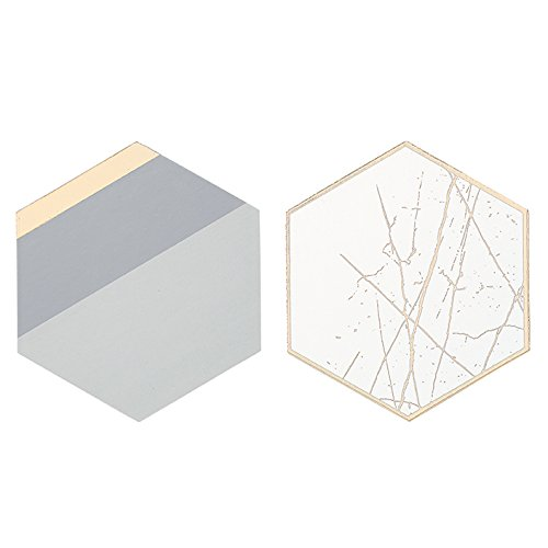 Talking Tables Modern Metallics Gold Foil Trim Hexagonal Card Table Coasters for a Birthday or Home Décor, Multicolor (12 Pack) by Talking Tables (Image #1)