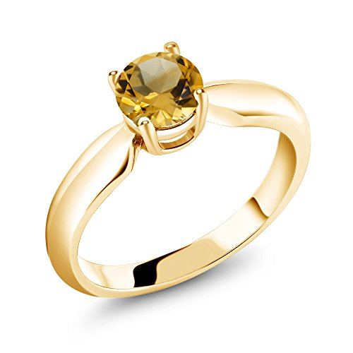 Citrine 18K Yellow Gold Plated Silver Ring (Size 8) ()