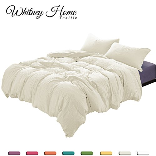 Egyptian Cotton Quality Soft Stone Washed Microfiber Ivory Duvet Cover Set Queen Size 3 Pieces with Zipper Closure Corner Ties - Fade Stain Resistant Quilt Case Hypoallergenic Comforter ()