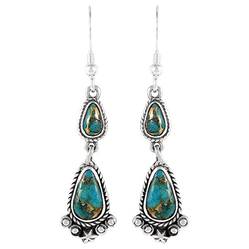 Turquoise Earrings 925 Sterling Silver Genuine Turquoise Jewelry (SELECT from different styles) (Artisan Dangles)