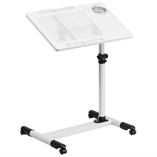 Scranton and Co Adjustable Mobile Laptop Cart in White