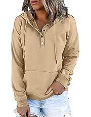 isermeo Women's Casual Pullover Hoodies Button Down Clothes Long Sleeve Sweatshirts Teen Girls Fall Tops S-XXL