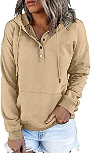 isermeo Women's Casual Pullover Hoodies Button Down Clothes Long Sleeve Sweatshirts Teen Girls Fall Tops S