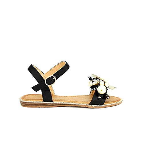 Femme Sandale Chaussures Yoloko Perles Cendriyon Noir Avec Noire 4YITP