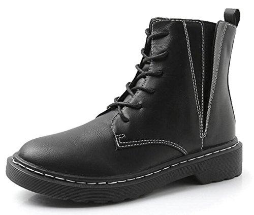 Otoño E Invierno Versión Coreana Vintage Británica Encaje Botas Martin Casual Zapatos De Mujer Negro