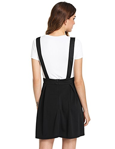 38a0bb684c8 Romwe Women s Cute A Line Adjustable Straps Pleated Mini Overall Pinafore  Dress