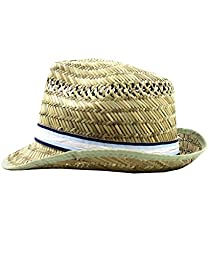 RuggedButts® Infant / Toddler Boys Fedora - Natural/Blue/White - 0-12m (S)