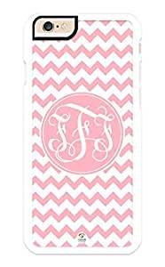 iZERCASE iPhone 6 Case Monogram Personalized Light Pink Chevron with Light Pink Circle Pattern RUBBER CASE - Fits iPhone 6 T-Mobile, AT&T, Sprint, Verizon and International (White)