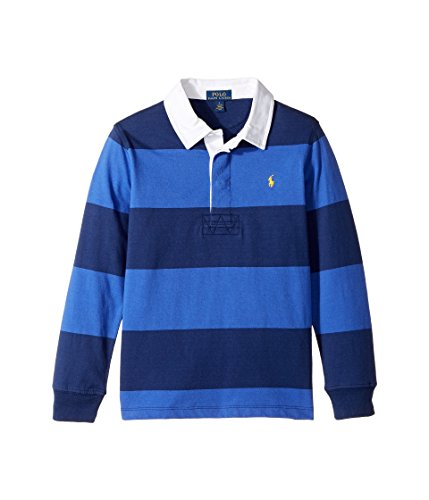 Ralph Lauren Little Boy's Striped Cotton Rugby Shirt (5, Barclay Blue Multi) (Striped Ralph Rugby Shirt Lauren)