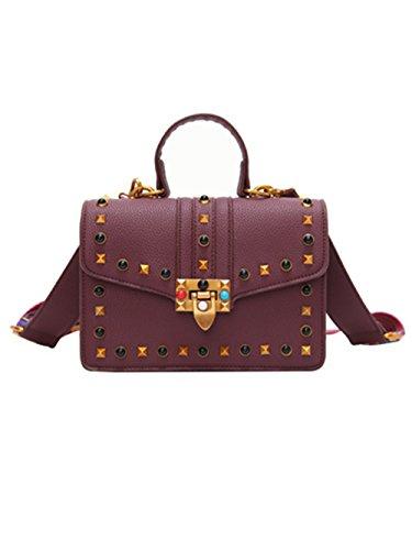à épaule Design de bandoulière messager Violet Rivet Sacs Sacs couleur Femme Bracelet couleur RUpf1f