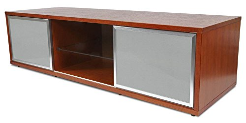 "PLATEAU SR-V 65 WB-S Wood 65"" TV Stand, Walnut finish, Silver Frame Door"