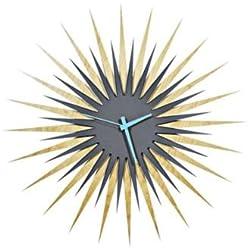 Metal Art Studio Atomic Era Maple Grey/Blue Decorative Wall Clock, Large,