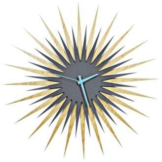 Maple Sunburst - Metal Art Studio Atomic Era Maple Grey/Blue Decorative Wall Clock, Large,