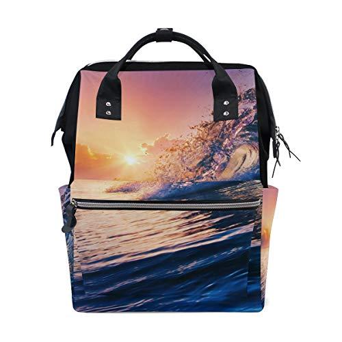 Price comparison product image Backpack Ocean Waves Sunset Womens Laptop Backpacks Hiking Bag Travel Daypack