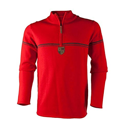 Obermeyer Men's Zurich 1/2 Zip Sweater Red 2XL & E-Tip Gloves (Obermeyer Red Sweater)