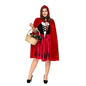 KeepMoving Women's Plus Size Little Red Riding Hood Halloween Cosplay Costume Make up Party Dress
