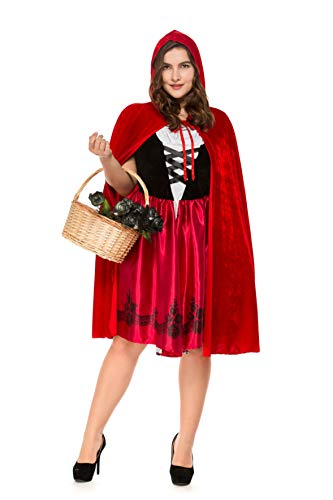 Women's Plus Size Little Red Riding Hood Halloween Cosplay Costume Make up Party Dress (XXX-Large) ()