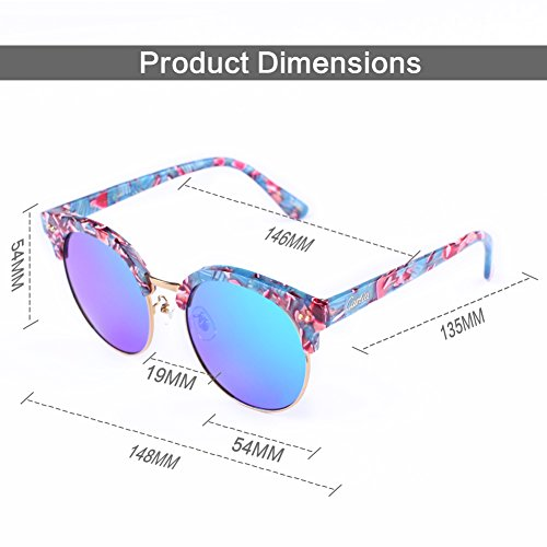 mirrored womens sunglasses yy1f  cheap Carfia Round Womens Sunglasses Polarized Mirrored Sunglasses Plank  Frame with Box, 100% UV400