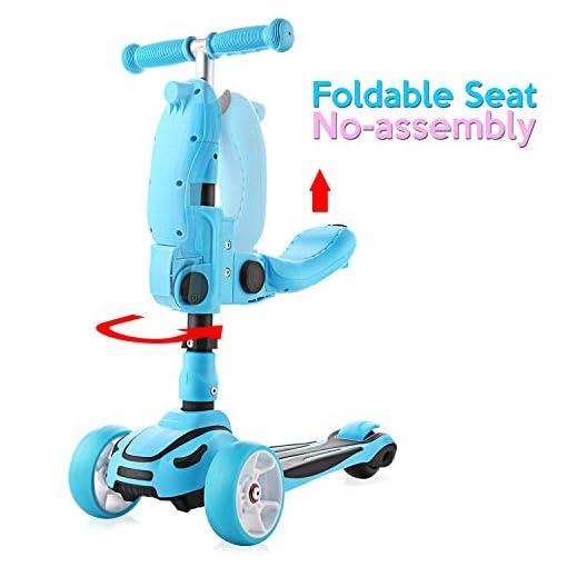 Hikole 2 en 1 Trottinette pour Enfants, Scooter avec Siège Pliage et 3 Roues Lumineuses pour 1.5 à 8 Ans, Modèle Pliable, Poignées Ajustable