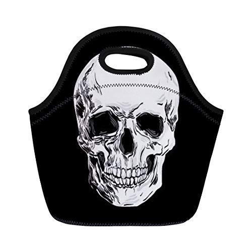 Semtomn Neoprene Lunch Tote Bag Head Skull Halloween Bones Brain Drawing Anatomy Black Break Reusable Cooler Bags Insulated Thermal Picnic Handbag for Travel,School,Outdoors,Work