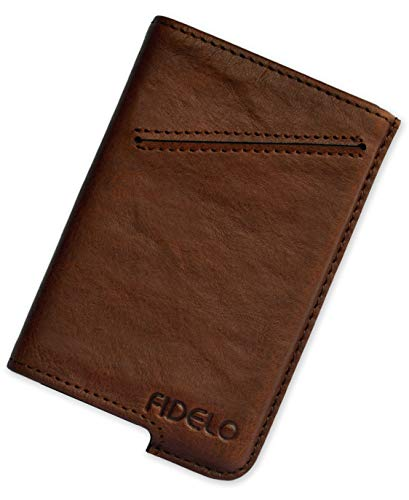 FIDELO Minimalist Wallet for Men - Slim Credit Card Holder RFID Mens Wallets with Leather Case - CASE ONLY (