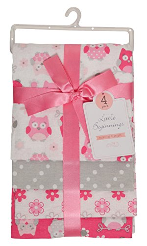 Little Beginnings Four Piece Laddered Receiving Blankets, Pink Owls ()