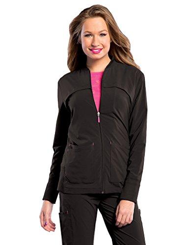Landau Smitten Miracle S303008 Women's Tour Zip-Front with Rib Detail Scrub Jacket Black (Miracle Zip)