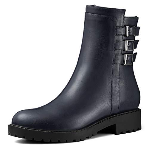 K Allegra Round Women's Heel Mid Buckle Zip Blue Boots Block Toe Calf ZqRqrwd