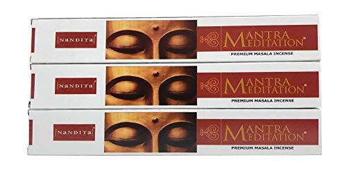 Nandita Mantra Meditation Premium Masala Incense Sticks - Pack of 3 (15 Gram Each)