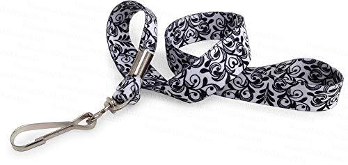 Black and White Damask - Ultra Soft Neck Lanyard for Professional Wardrobe Badge ID