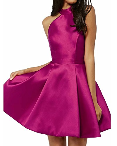 (Women's Satin Knee Lenth Homecoming Dresses Mini Short Prom Cocktail Party Dress Fuchsia US20W)