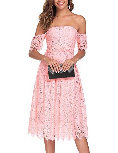 ANGVNS Women's Classic Lace Off Shoulder Short Sleeve A-line Party Dress