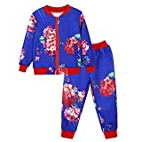 Baby Girls Boys Baseball Collar Floral Print Zipper Tops Coat Pants Outfits Set (6-7 Years Old, Purple)