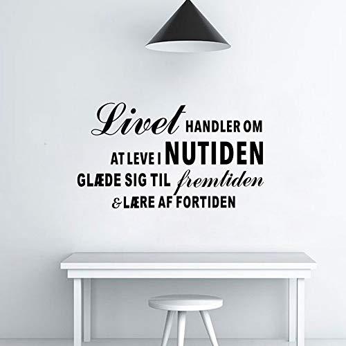 Biaues Vinly Art Decal Words Quotes Inspirational Danish Quote Livet Handler Om at Level Nutiden Living Room Decoration