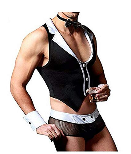 YOOJIA 4Pcs Men's Sexy Tuxedo Costumes Lingerie Maid Role Play Outfits Bow Tie Handcuffs Outfits Set Black One_Size ()