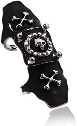 EVBEA Punk Rock Full Finger Skull Pirate Ring Fashion Black Biker Statement Crystal Knuckle Rings for Women