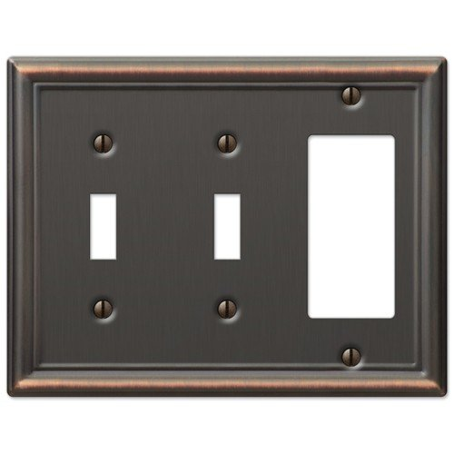 Decorative Wall Switch Outlet Cover Plates (Oil Rubbed Bronze, 2 Toggle 1 Rocker) (Bronze Double Rocker)