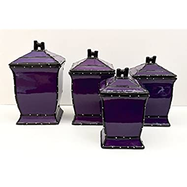 Tuscany Purple Ruffle Hand Painted Ceramic, 4-Piece Canister Set 86001 by ACK