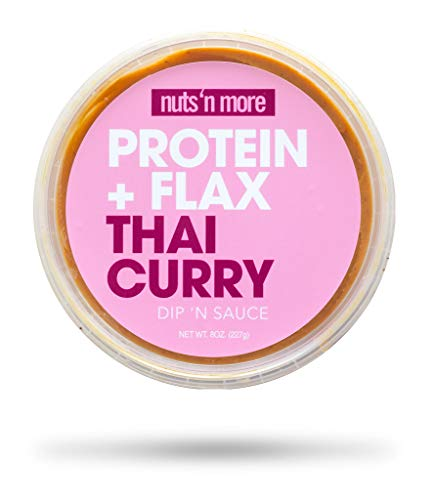 Nuts N More Thai Curry Dip N Sauce, High Protein Peanut Nut Butter Snack, Keto, Low Carb, Gluten Free, All Natural, 8 oz