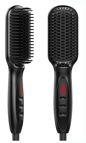 Electric Hair Brush Professional Styling Tool, 2 in 1 Heated Hair Straightening Brush, Anion Technology, Anti-Scald, 250F - 450F & Fast Heating by YIMEI HOUSEHOLD