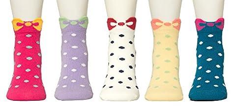 Maiwa Girls Cotton Bow Pattern Seamless Novelty socks for girls ,Toddlers, kids 5 pack (Little Girl Shoes 12-2 / - Childrens Toe Socks