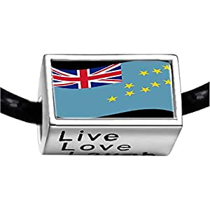 Chicforest Silver Plated Tuvalu flag Photo Live Love Laugh Charm Beads Fits Pandora Biagi Troll Chamilia Kay's Beads Charms