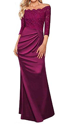 Robes De Cocktail Confortables Du Soir Des Femmes Épaule Couleur Pure Robe De Rose Rouge