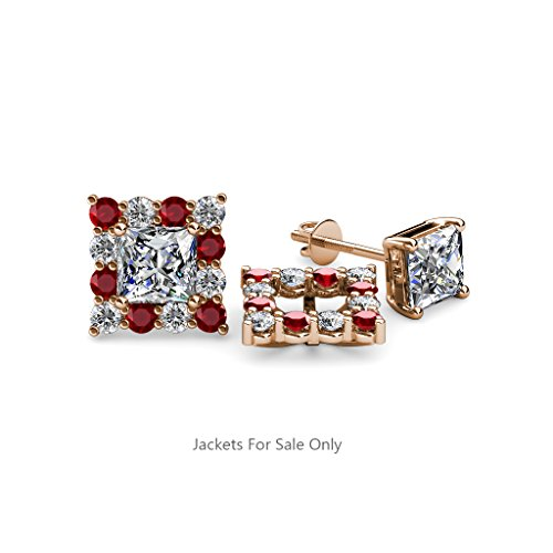 Red Garnet and Diamond (SI2-I1, G-H) Halo Jacket for Princess Cut Stud Earrings 0.80 ct tw 14K Rose Gold