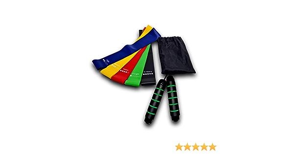 Kit de bandas de resistencia de látex 100 % natural con una cuerda de saltar Crossfit de 3 m ajustable, ideal para la pérdida de peso, el cardio, la musculación, la rehabilitación