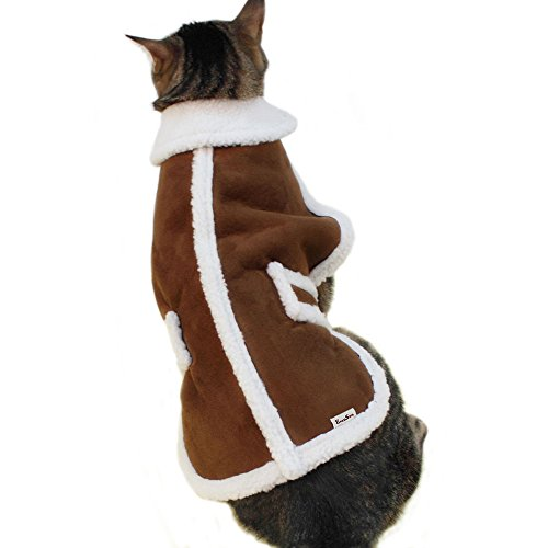 EocuSun Pet Clothes for Dogs Winter Coat Cat Dog Vest Warm Jacket Apparel Shearling Fleece Cold Weather Coats for Medium Large Dogs Cats Puppy with Furry Collar by, Brown L by EocuSun (Image #3)