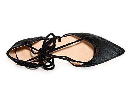 Amoonyfashion Damesschoenen Met Vetersluiting Dichte Teen Hoge Hakken Paardenhaar Stevige Pumps-schoenen Zwart