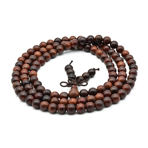Zen Dear Unisex Natural Rosewood Prayer Beads Buddha Buddhist Prayer Meditation Mala Necklace Bracelet (6mm 108 beads) (Beads Rosewood Wood)